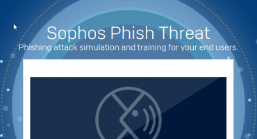 Animated Computer Screen showing the Sophos Phish Threat logo
