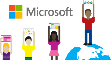 Animated Characters holding up Tablets showing Microsoft Software