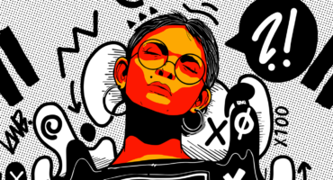 Illustration of a young woman with Graphiti backround