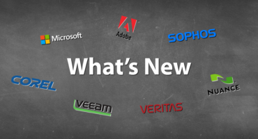 Blackboard effect backround with modern Whats new text featuring Adobe, Sophos, Nuance, Veritas, Veeam, Corel and Microsoft logos